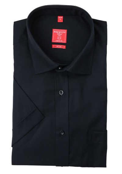 REDMOND Regular Fit Hemd Kurzarm New Kent Kragen bügelfreie schwarz