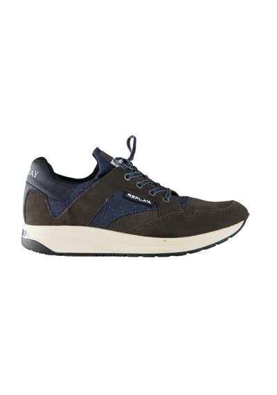 REPLAY Sneaker Schnürer Materialmix Muster blau - Hemden Meister