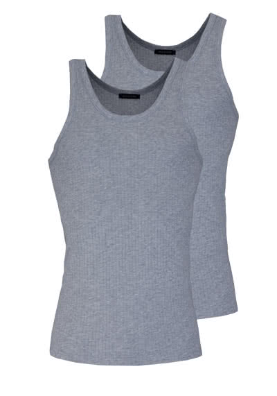SCHIESSER ärmelloses Authentic Shirt Essentials Doppelpack grau - Hemden Meister