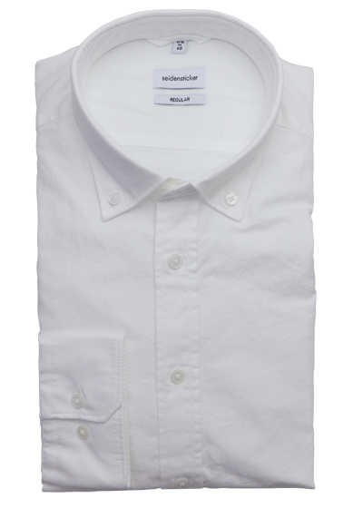 SEIDENSTICKER Regular Hemd Langarm Button Down Kragen Oxford weiß
