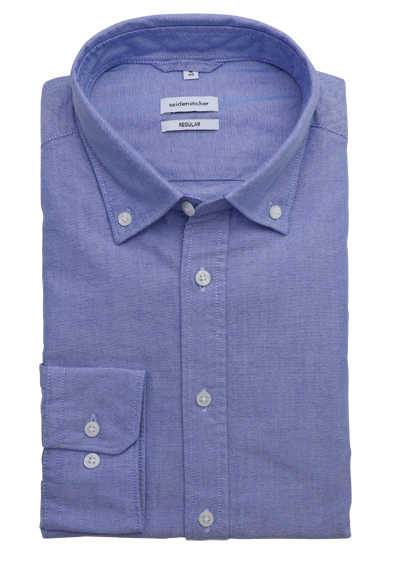 SEIDENSTICKER Regular Hemd Langarm Button Down Kragen Oxford blau preisreduziert