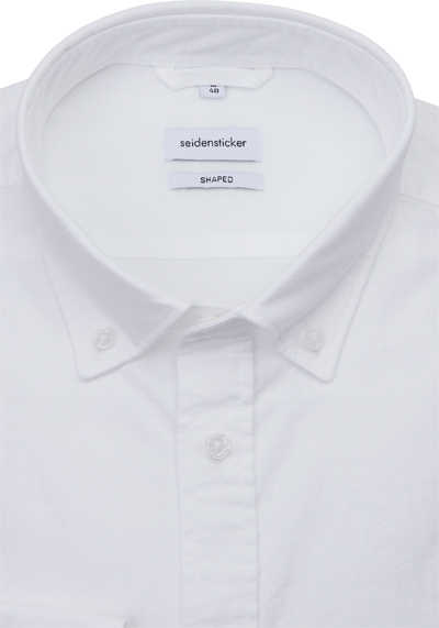 SEIDENSTICKER Shaped Hemd Langarm Button Down Kragen Oxford weiß