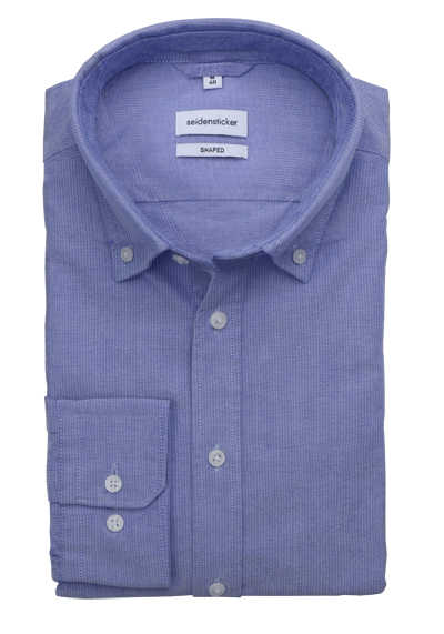 SEIDENSTICKER Shaped Hemd Langarm Button Down Kragen Oxford blau