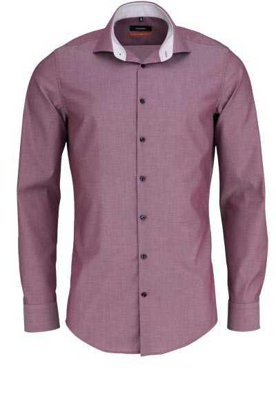 SEIDENSTICKER Slim Hemd extra langer Arm Haifischkragen dunkelrot - Hemden Meister
