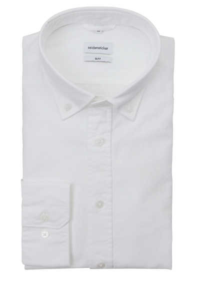 SEIDENSTICKER Slim Hemd Langarm Button Down Kragen Oxford weiß