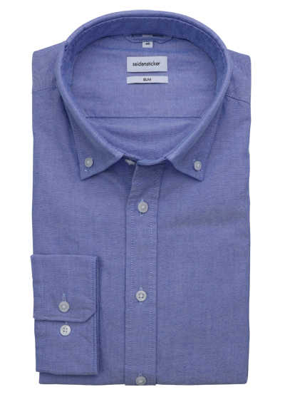 SEIDENSTICKER Slim Hemd Langarm Button Down Kragen Oxford blau