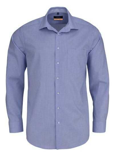 SEIDENSTICKER Slim Hemd extra langer Arm Haifischkragen Karo blau - Hemden Meister