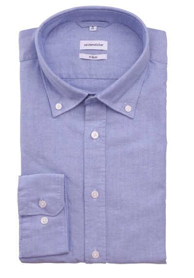 SEIDENSTICKER X-Slim Hemd Langarm Button Down Kragen Oxford blau - Hemden Meister