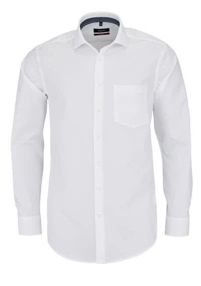 SEIDENSTICKER Modern Hemd Langarm Haifischkragen mit Besatz weiß - Hemden Meister