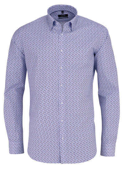 SEIDENSTICKER X-Slim Hemd Langarm Baumwolle Muster hellblau - Hemden Meister