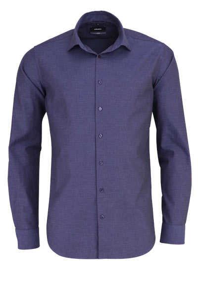 SEIDENSTICKER X-Slim Hemd Langarm New Kent Kragen Struktur nachtblau - Hemden Meister