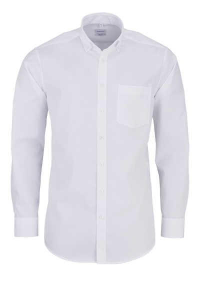 SEIDENSTICKER Regular Hemd Langarm Button Down Kragen Poplin weiß
