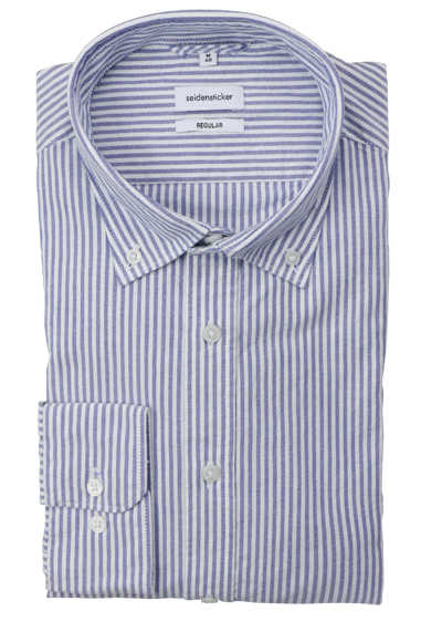 SEIDENSTICKER Regular Hemd Langarm Button Down Kragen Streifen blau