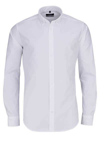 SEIDENSTICKER X-Slim Hemd Langarm Button Down Kragen Oxford weiß