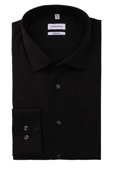 SEIDENSTICKER Modern Hemd Langarm New Kent Kragen Popeline schwarz - Hemden Meister