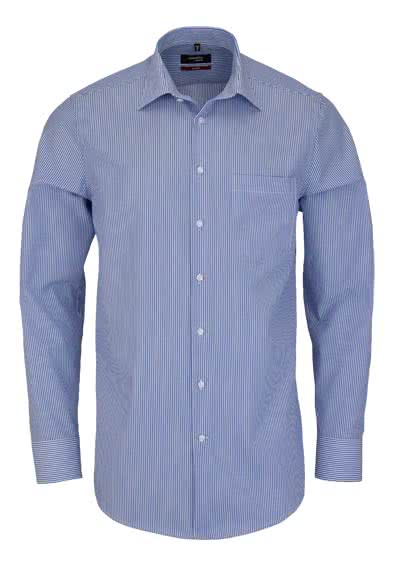 SEIDENSTICKER Modern Hemd Langarm Basic Kent Kragen Streifen blau - Hemden Meister