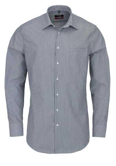 SEIDENSTICKER Modern Hemd Langarm Basic Kent Kragen Streifen schwarz - Hemden Meister