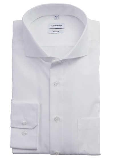 SEIDENSTICKER Modern Hemd Langarm Haifisch Kragen Popeline weiß - Hemden Meister