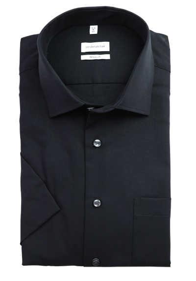 SEIDENSTICKER Modern Hemd Halbarm Basic Kent Kragen Chambray schwarz - Hemden Meister