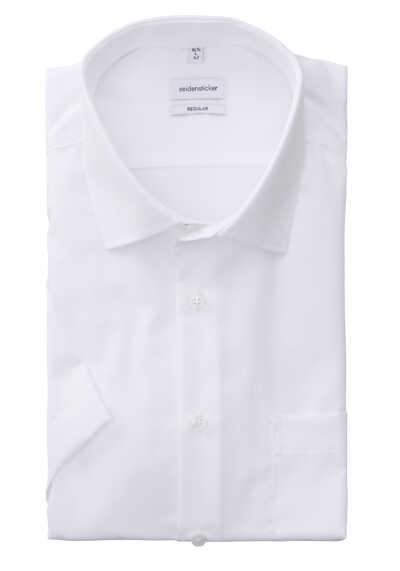 SEIDENSTICKER Modern Hemd Halbarm Basic Kent Kragen Fil à Fil weiß - Hemden Meister