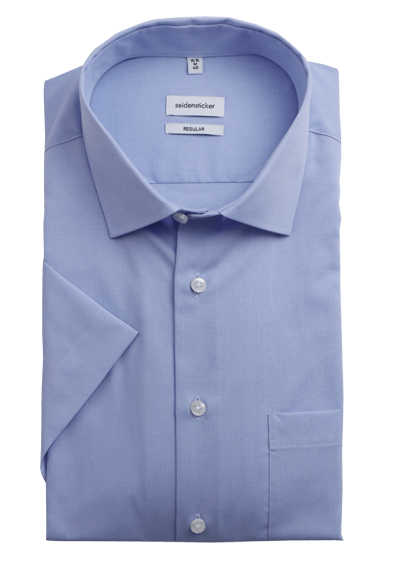 SEIDENSTICKER Modern Hemd Halbarm Basic Kent Kragen Fil à Fil hellblau - Hemden Meister