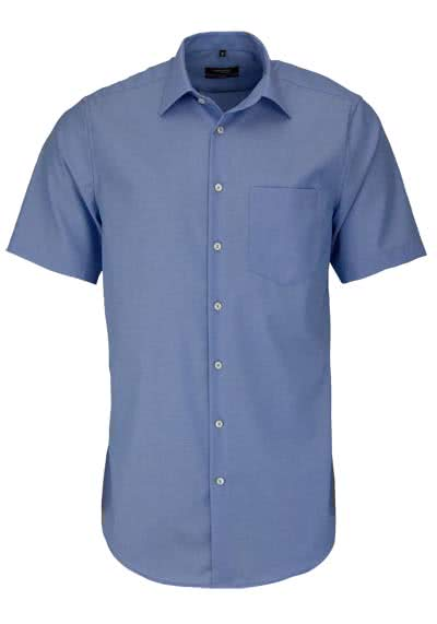 SEIDENSTICKER Modern Hemd Halbarm Basic Kent Kragen Fil à Fil blau - Hemden Meister