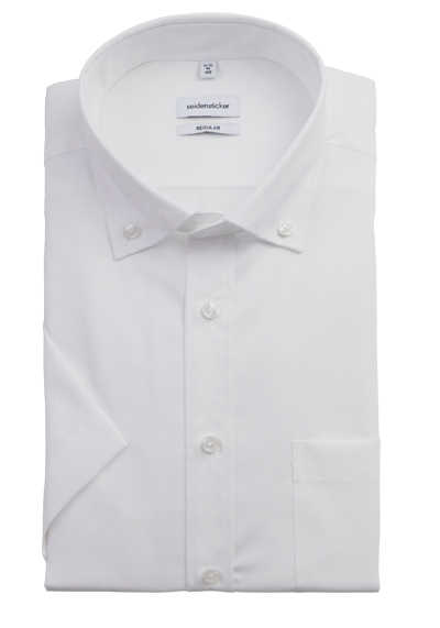 SEIDENSTICKER Regular Hemd Halbarm Button Down Kragen Poplin weiß
