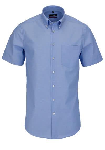 SEIDENSTICKER Modern Hemd Halbarm Button Down Fil à Fil mittelblau - Hemden Meister