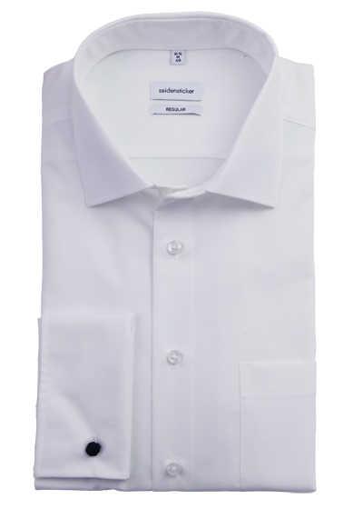 SEIDESTICKER Modern Hemd Langarm ohne Manschettenknopf Popeline weiß - Hemden Meister