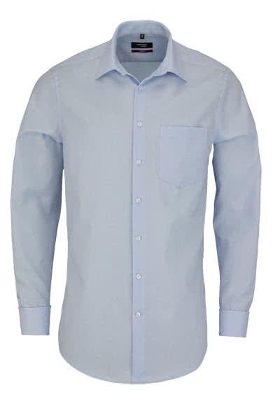 SEIDENSTICKER Modern Hemd Langarm ohne Manschettenknopf Popeline blau - Hemden Meister
