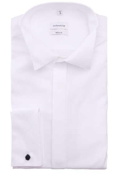 SEIDENSTICKER Modern Galahemd Langarm Kläppchen Kragen Popeline weiß - Hemden Meister