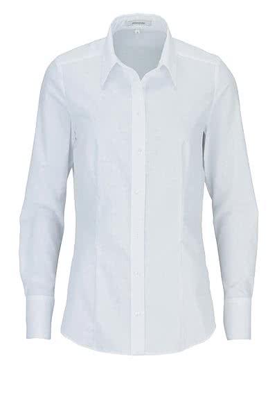 SEIDENSTICKER Modern Bluse Langarm mit Hemdkragen Popeline weiß - Hemden Meister