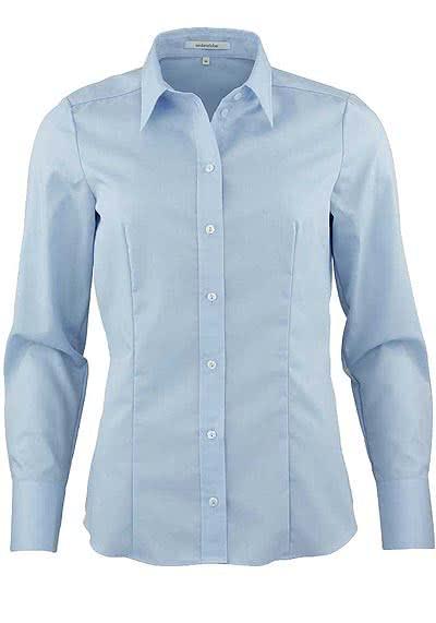 SEIDENSTICKER Modern Bluse Langarm mit Hemdkragen Popeline hellblau - Hemden Meister