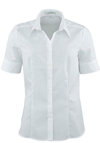 SEIDENSTICKER Modern Bluse Halbarm Hemdenkragen Popeline weiß - Hemden Meister
