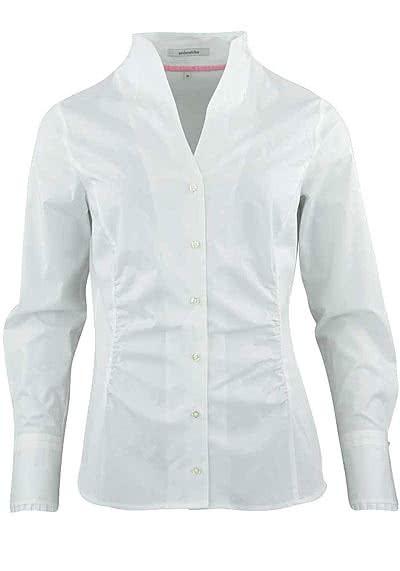 SEIDENSTICKER Modern Bluse Langarm Kelchkragen Popeline Stretch weiß - Hemden Meister