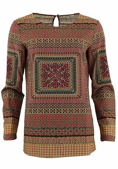 SEIDENSTICKER Bluse Langarm Muster rot 378842/45 - Hemden Meister