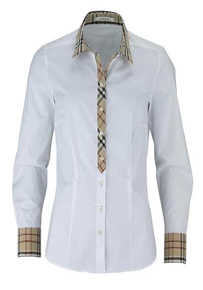 SEIDENSTICKER Modern Bluse Langarm mit Besatz Popeline Stretch weiß - Hemden Meister