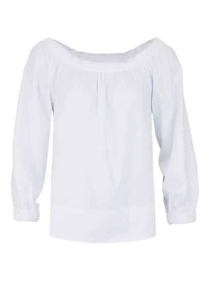 SEIDENSTICKER Modern Bluse Langarm Off-Shoulder Popeline Stretch weiß - Hemden Meister