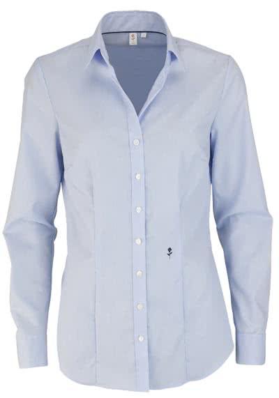 SEIDENSTICKER Slim Bluse Langarm Offener Kragen Streifen hellblau - Hemden Meister