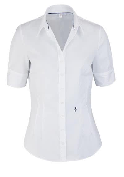 SEIDENSTICKER Slim Bluse Halbarm offener Kragen weiß - Hemden Meister