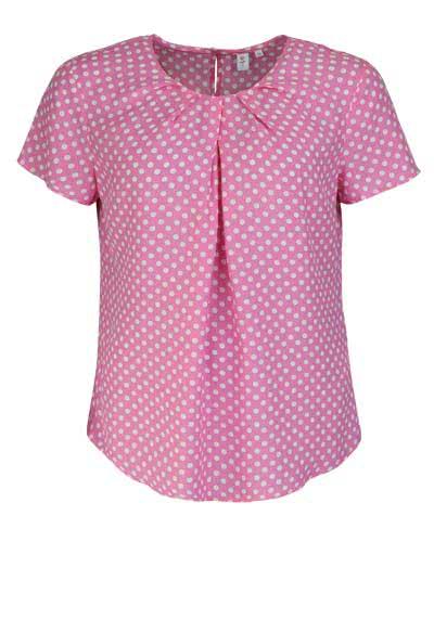 SEIDENSTICKER Modern Bluse Halbarm Rundhals Viskose Punkte pink - Hemden Meister