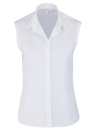 SEIDENSTICKER Modern Bluse ohne Arm Hemdenkragen Stretch weiß - Hemden Meister