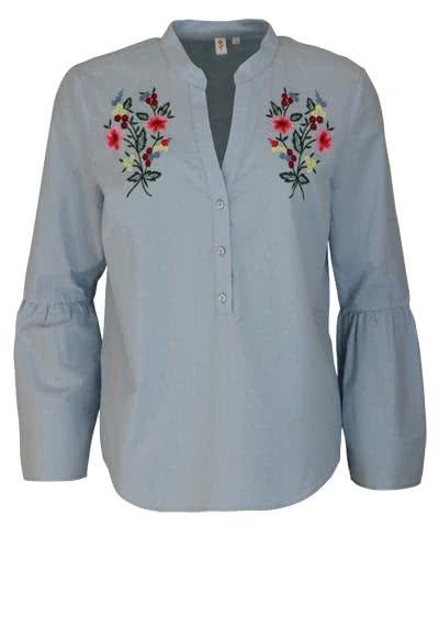 SEIDENSTICKER Modern Bluse Langarm offener Kragen Blumenstickerei hellblau - Hemden Meister