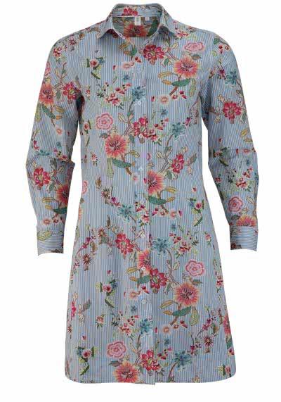 SEIDENSTICKER Modern Blusenkleid Langarm Blumen/Streifen hellblau - Hemden Meister