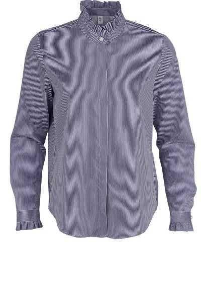 SEIDENSTICKER Modern Bluse Langarm Stehkragen Rüschen Streifen blau - Hemden Meister