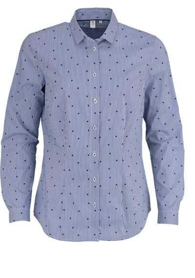 SEIDENSTICKER Modern Bluse Langarm Hemdenkragen Streifen dunkelblau - Hemden Meister