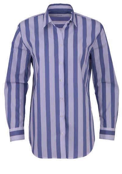 SEIDENSTICKER Modern Bluse Langarm Streifen mittelblau - Hemden Meister