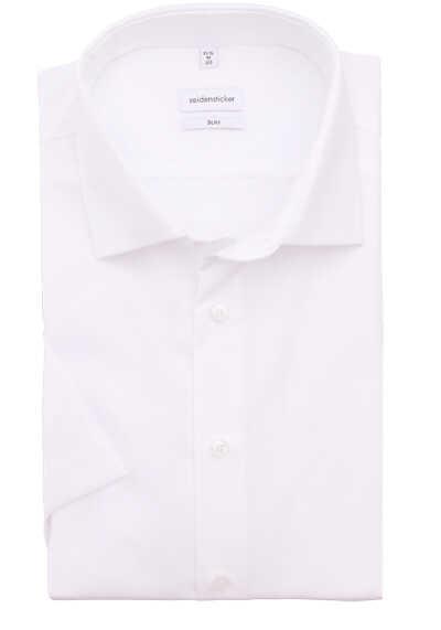 SEIDENSTICKER Slim Hemd Halbarm New Kent Kragen Fil a Fil weiß - Hemden Meister