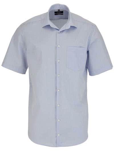 SEIDENSTICKER Comfort Hemd Halbarm New Kent Kragen Popeline hellblau - Hemden Meister