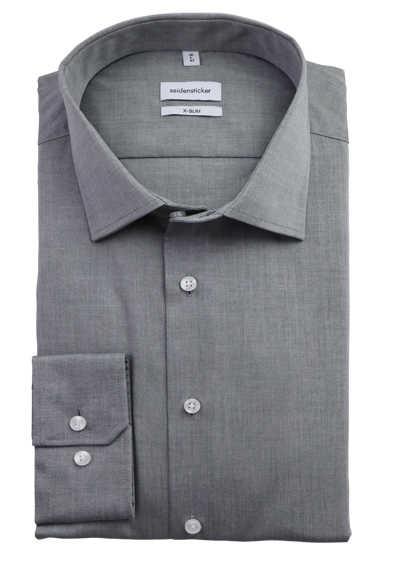 SEIDENSTICKER X-Slim Hemd Langarm New Kent Kragen Popeline mittelgrau - Hemden Meister